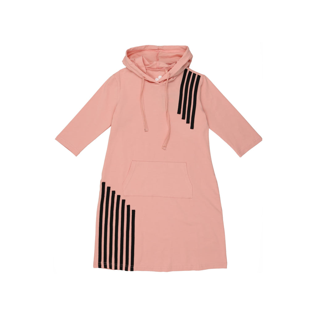 Cascade Stripe Hoodie Dress- Blush