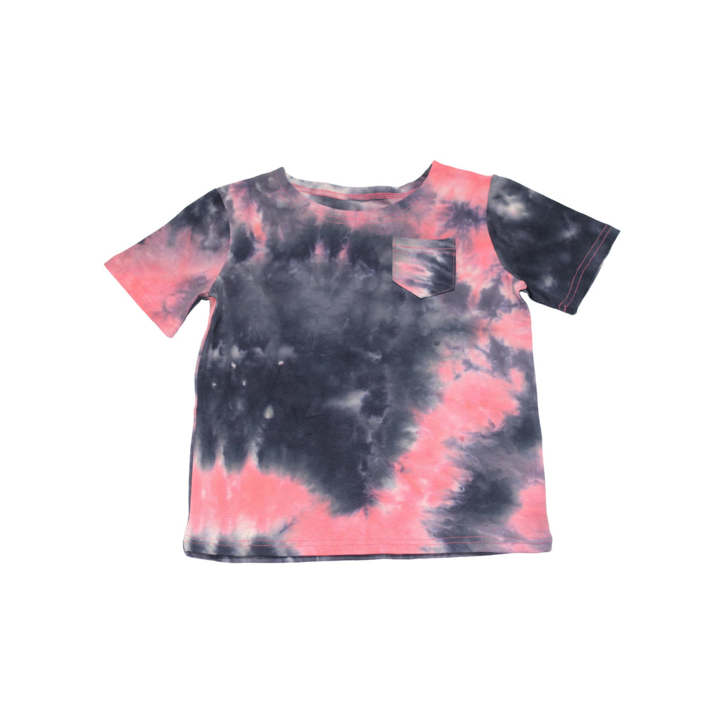 Tie Dye Boys T-Shirt- Coral/Grey