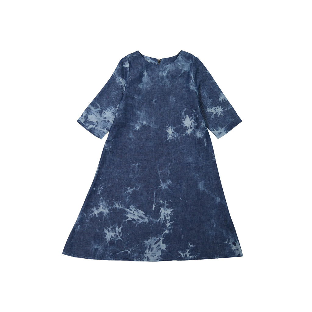 Tie Dye Denim Flairy Dress