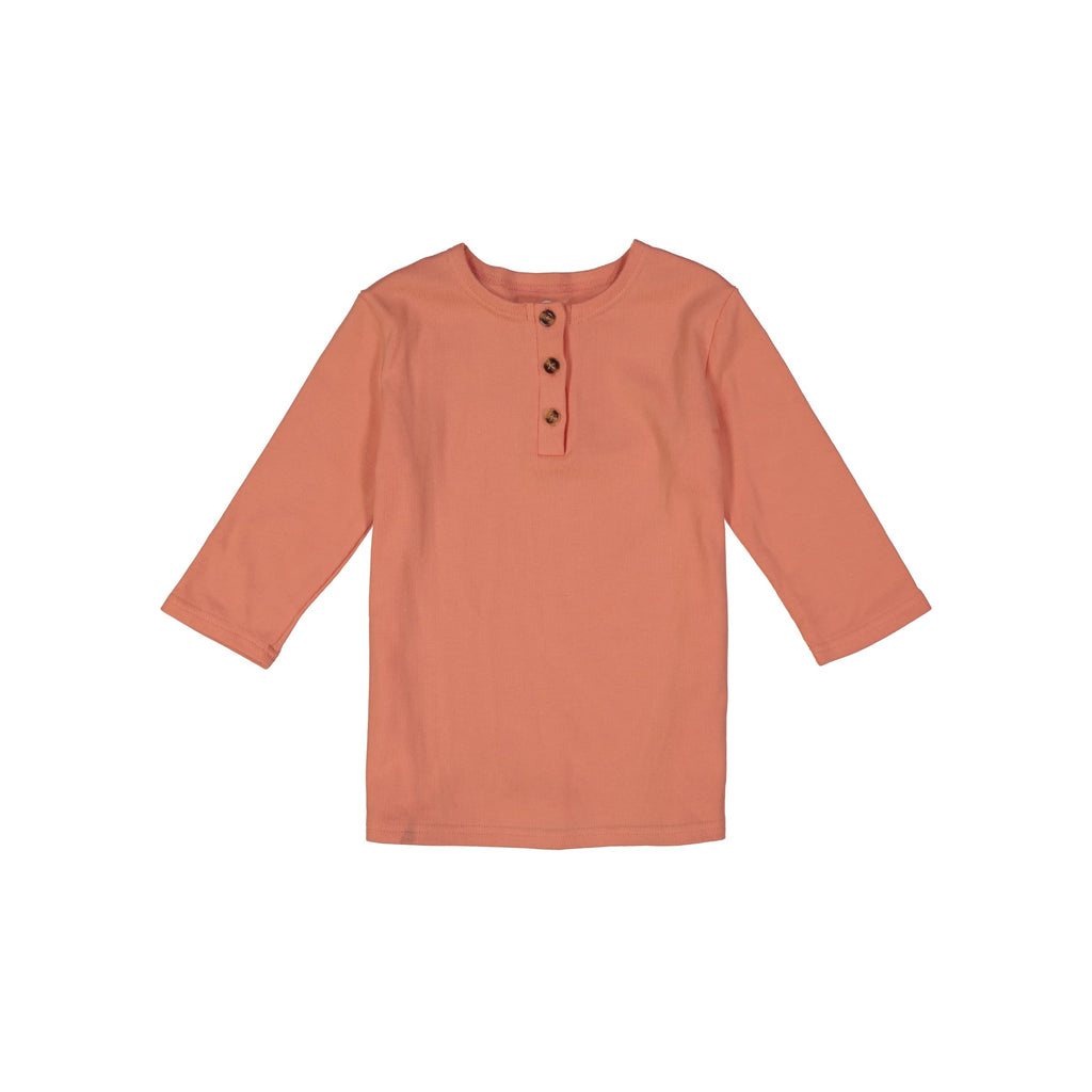 Ribbed Henley T-Shirt - Peach