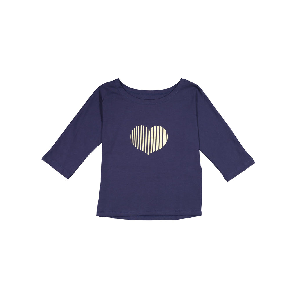 Heart Print T-Shirt- Navy