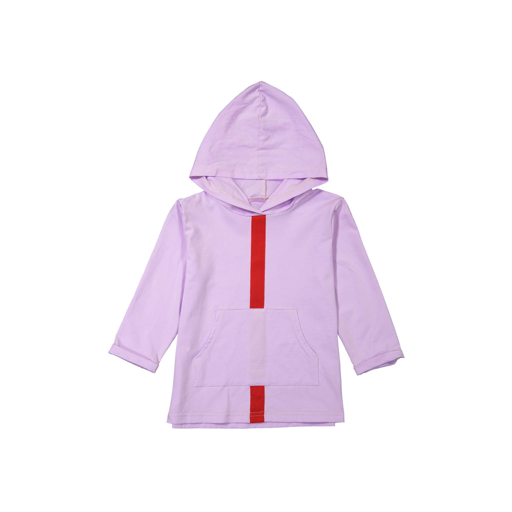 Stripe and Pocket Hoodie- Lavender