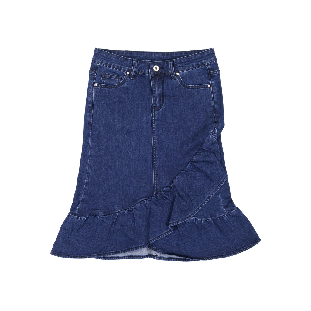 Ruffle Denim Skirt- Dark Denim