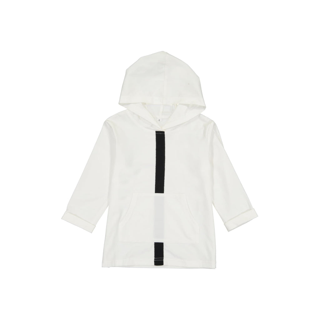 Stripe and Pocket Hoodie- White