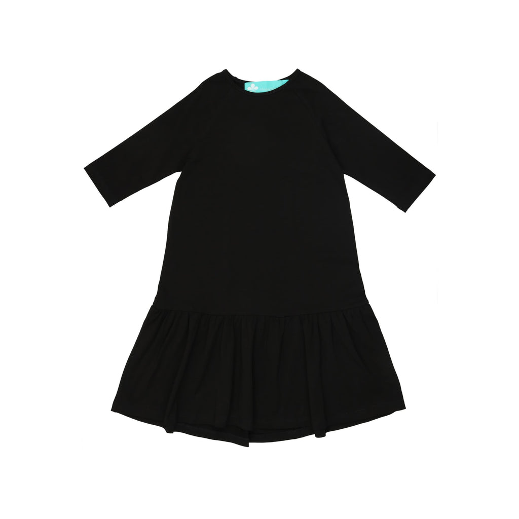 Drop Waist Ruffle Camp Dress- Black