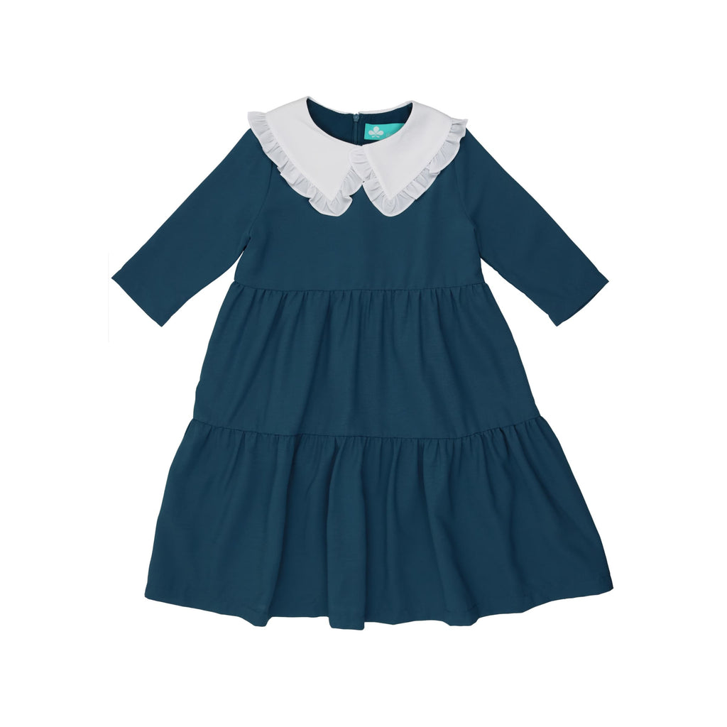 Tiered Dress with Oversized Collar-Blue