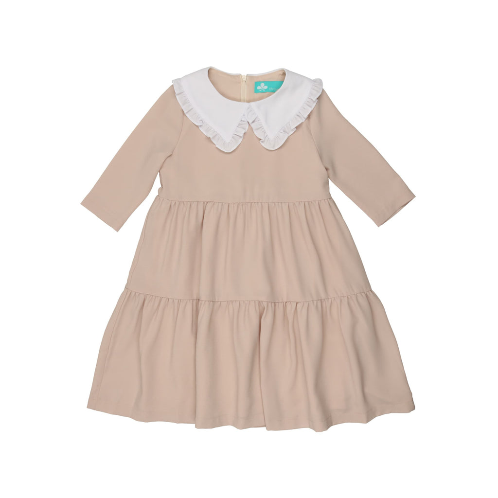 Tiered Dress with Oversized Collar-Sand