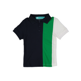 Striped Boys Polo T-Shirt- Navy/Green