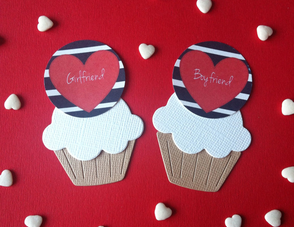 Girlfriend & Boyfriend Heart Cake Toppers