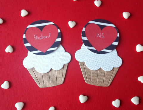 Navy Striped Husband/ Wife - Twelve Cake Toppers