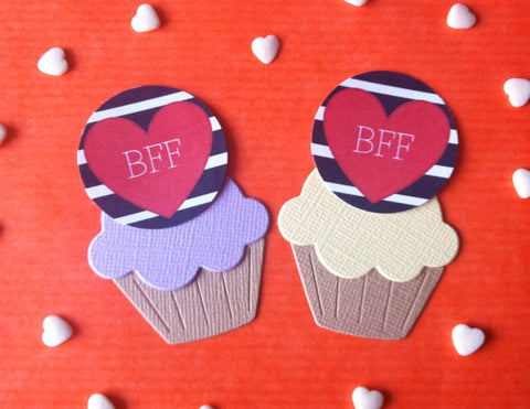 BFF Heart - Twelve Cake Toppers