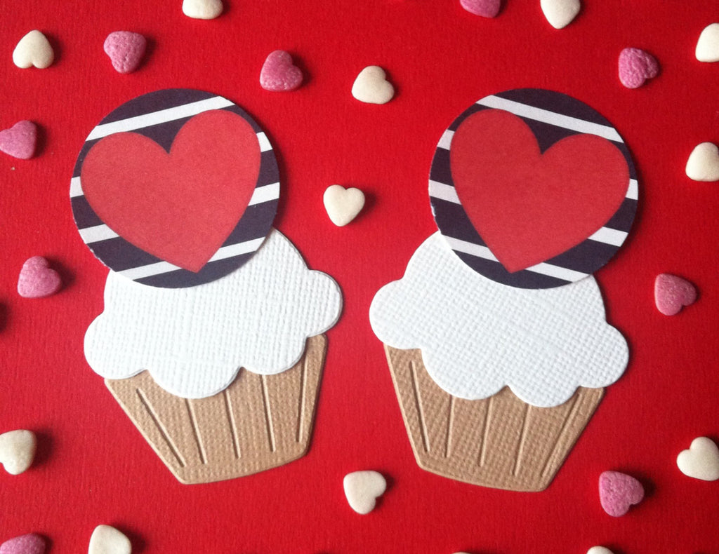 Navy & White Stripe Heart Cake Toppers