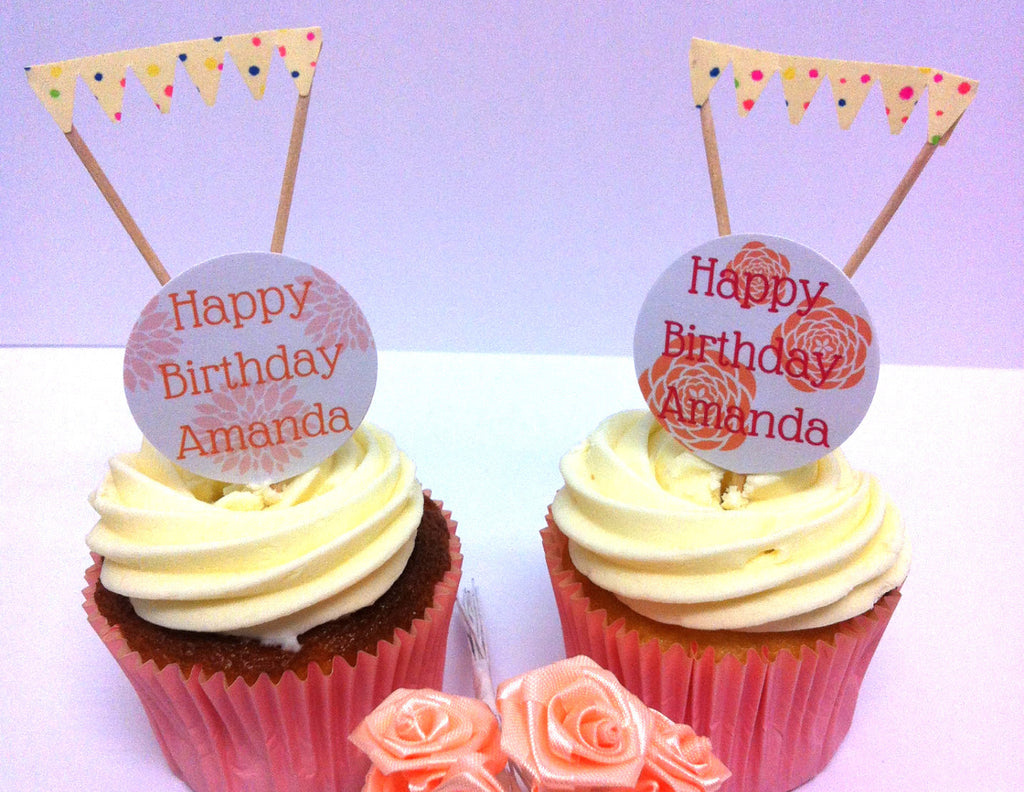 Pink & Orange Floral Cake Toppers & Mini Buntings