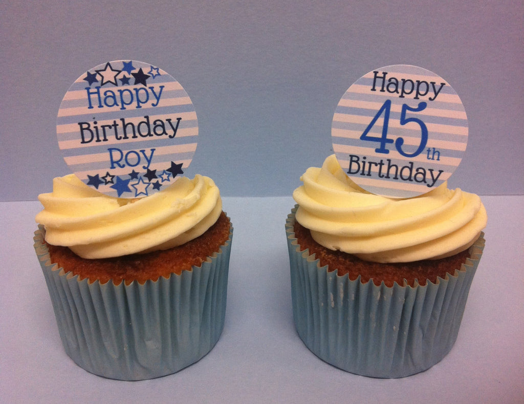 Blue Stars & Stripes Birthday - Twelve Cake Toppers