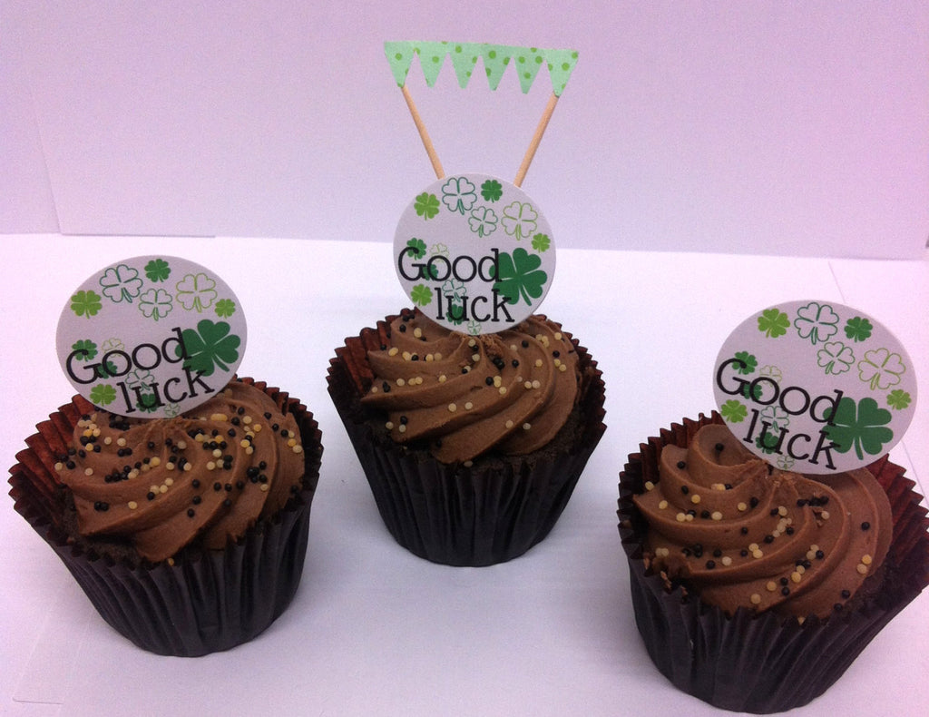 Good Luck Cake Toppers & Mini Green Cake Bunting