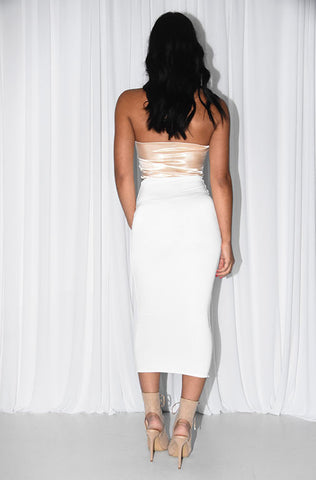 CAN YOU KNOT MIDI DRESS- IVORY & CHAMPAGNE