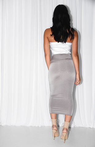 CAN YOU KNOT MIDI DRESS- WHITE & MINK