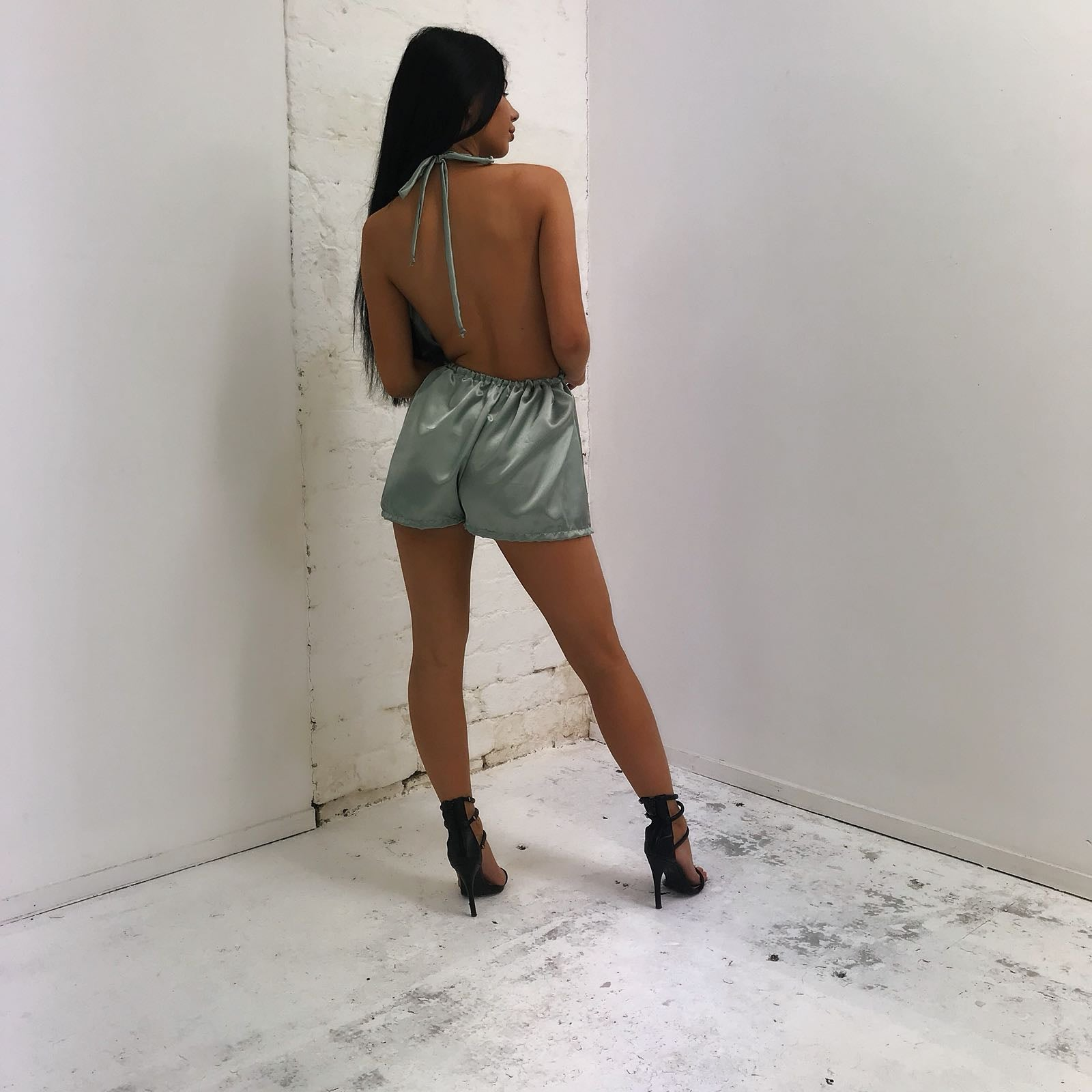 SAMPLE SALE- LIGHT OLIVE PLAYSUIT