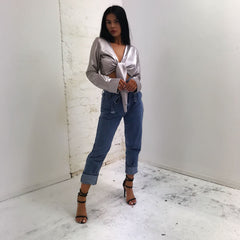 SAMPLE SALE- ICE GREY SATIN CROP
