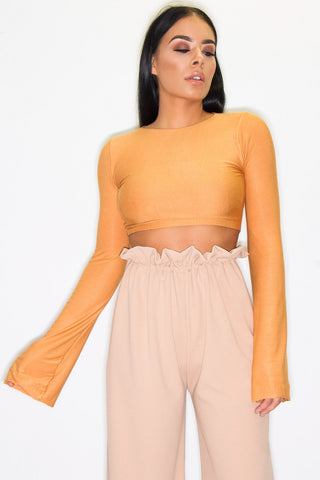 RAF BELL SLEEVE TOP MUSTARD