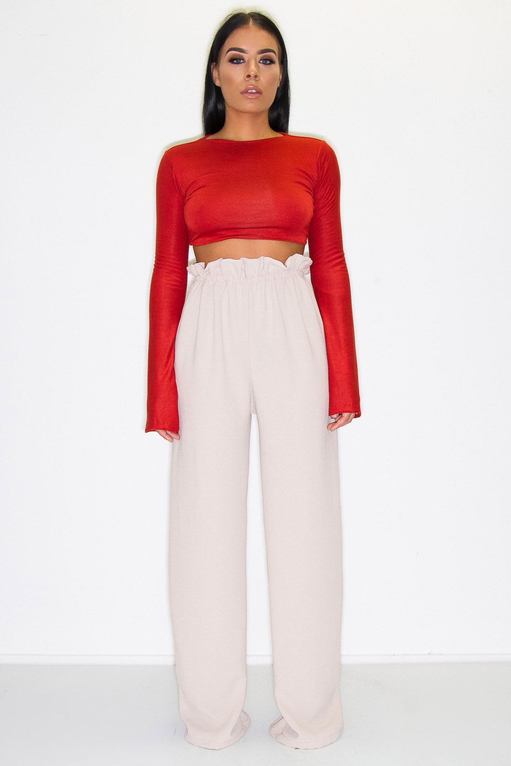 LIMITED QUANTITY ARLO PAPERBAG TROUSERS NUDE