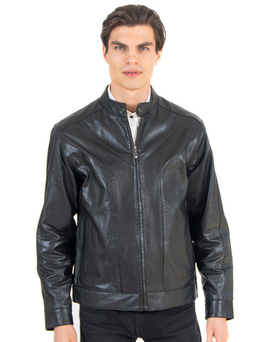 Men's Perforated Leather Jacket