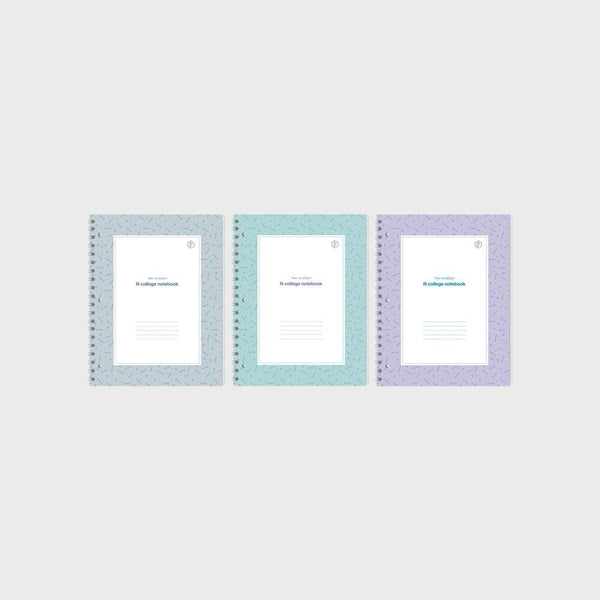 3 PACK - N College Notebook New Design Bundle (Mint, Grey & Purple)
