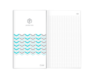 5 PACK - N pocket notebook, 64 grid lined pages