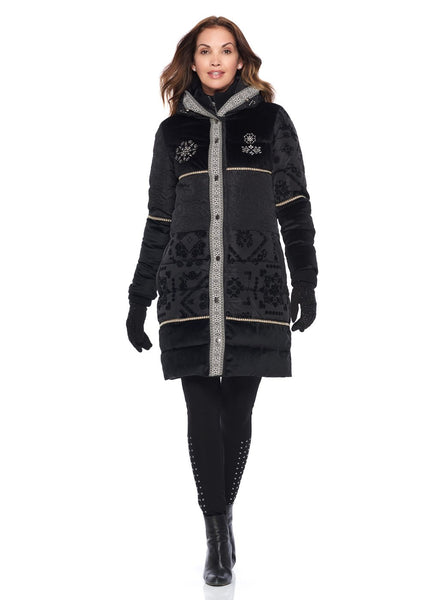 PUFFER JACKET WITH DETACHABLE DICKEY AND EMBROIDERED DETAIL