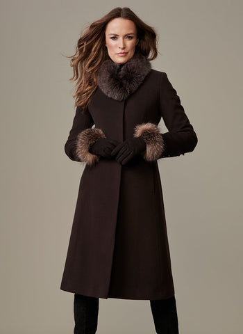 "42"" SHAPED STAND COLLAR COAT  WITH FUR AND BUTTON CUFF"