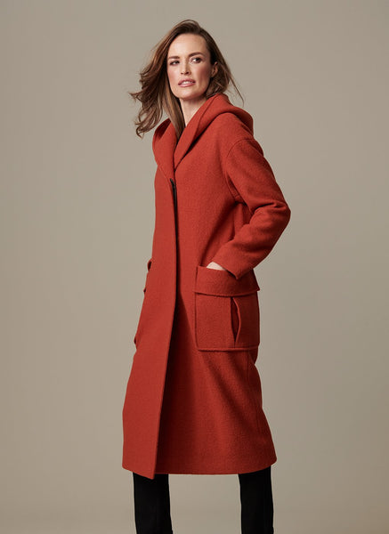 LONG HOODED BOILED WOOL COAT  WITH PATCH POCKETS 47""
