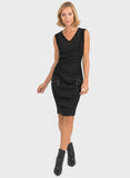 RUCHED FRONT DRESS WITH TAFFETA INSET
