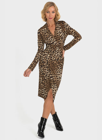 ANIMAL PRINTED FAUX WRAP DRESS