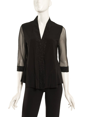 GLITTER JERSEY JACKET WITH SHEER SLEEVES