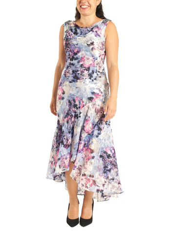 TEA LENGTH PRINTED DRESS WITH COWL NECKLINE