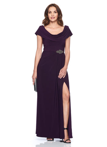 COWL BACK GOWN WITH BEADED    DETAIL AGT WAIST