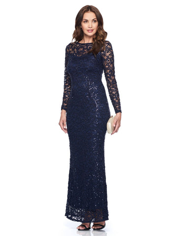 GLITTER LACE GOWN WITH        ILLUSION NECKLINE