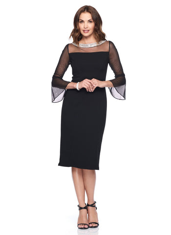SHORT SHIFT DRESS WITH        ILLUSION NECK AND BELL SLEEVES