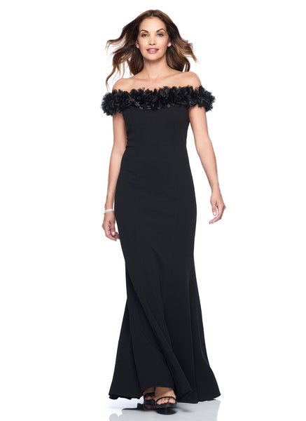 OFF SHOULDER GOWN WITH EMBELLISHED ORGANZA ROSETTES