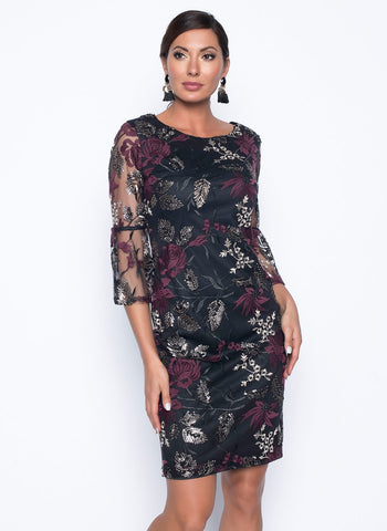 SHEER DRESSY EMBROIDERED RUFFLE SLEEVE SHIFT DRESS