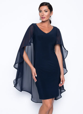 DRAMATIC SHEER CAPED DRESS