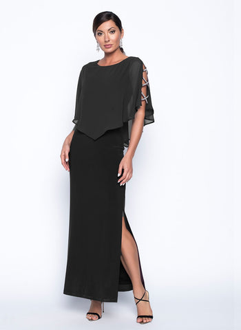 BLACK CRISS CROSS DIAMONTE SLEEVE DETAIL GOWN