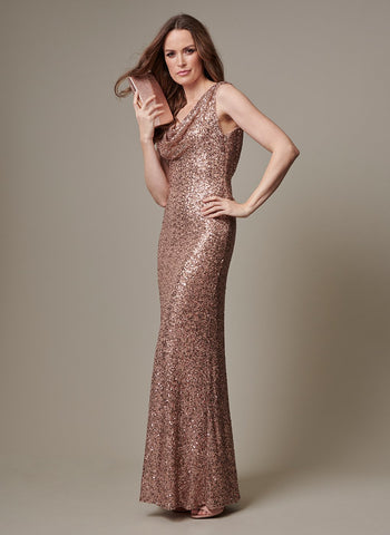 BRONZE DRAPED NECK GOWN