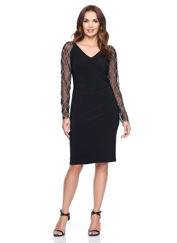 DEEP V BLACK COCKTAIL DRESS   WITH SHEER DIAMOND SLEEVE