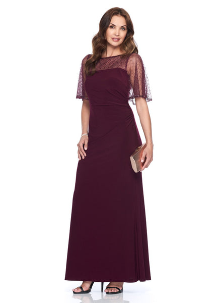 WINE GOWN WITH SHEER POPOVER  CAPELET
