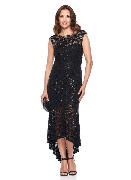 CAP SLEEVE HI LO LACE DRESS