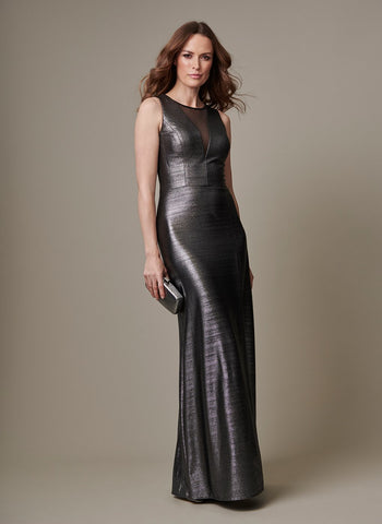 GUNMETAL GOWN WITH SHEER V    INSET