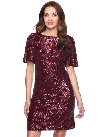 WINE SEQUIN SHORT FLUTTER     SLEEVE DRESS