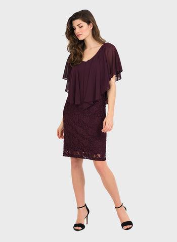 BLACKBERRY CHIFFON AND LACE   DRESS