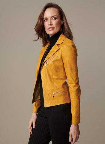 FAUX SUEDE JACKET WITH ZIP    POCKETS